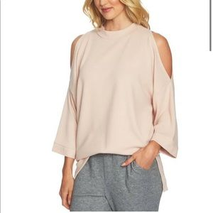 Pink Cut Out Sleeves Sweater